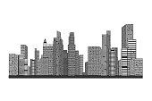 Building and City Illustration, City scene on white background