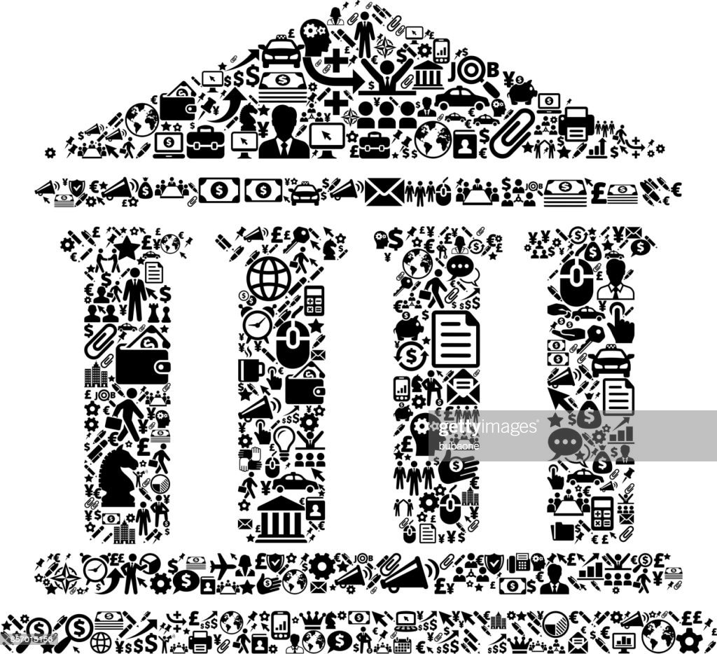 Building and Columns Icon Business and Finance Vector Icon Pattern