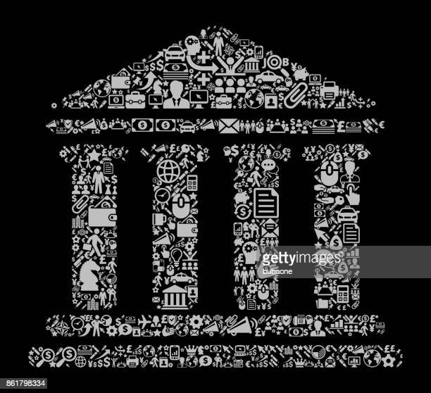building and columns icon business and finance vector icon pattern - architectural feature stock illustrations, clip art, cartoons, & icons