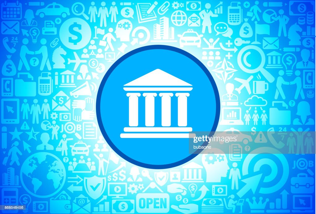 Building and Columns Icon on Business and Finance Vector Background