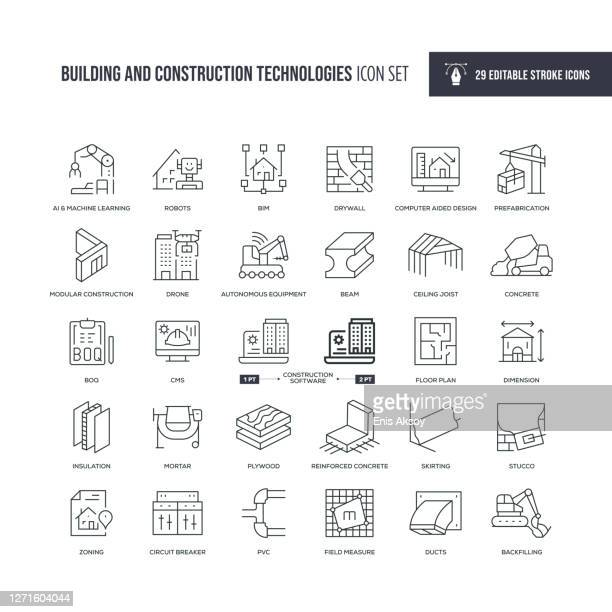 building and construction technologies editable stroke line icons - air duct stock illustrations
