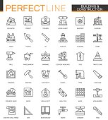 Building and construction thin line web icons set. Home repair tools outline stroke icons design.