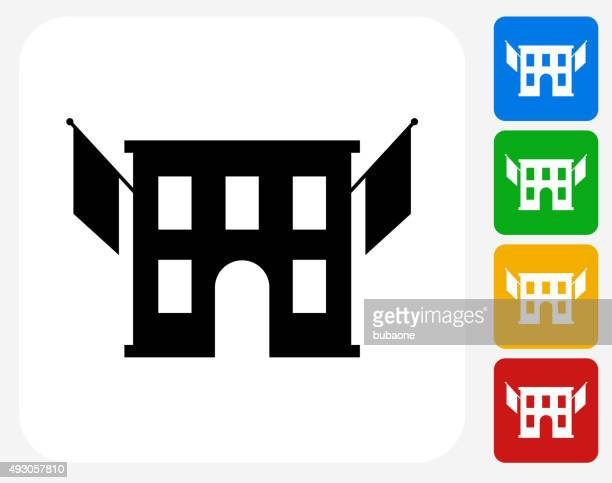 Building and Flags Icon Flat Graphic Design