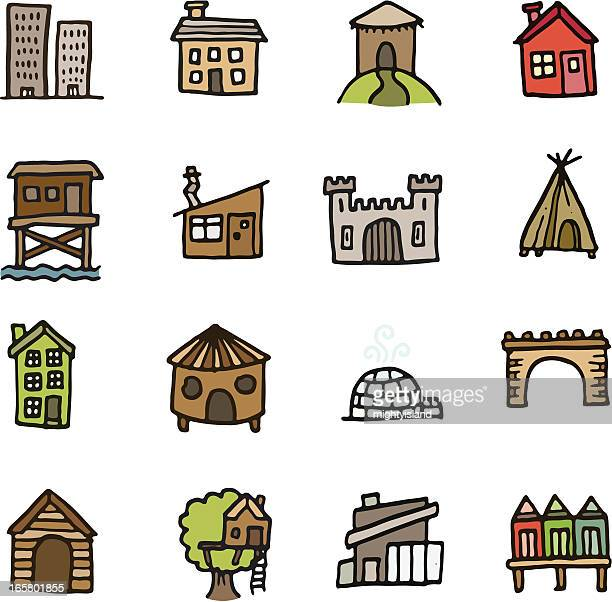 Building and home doodle icon set