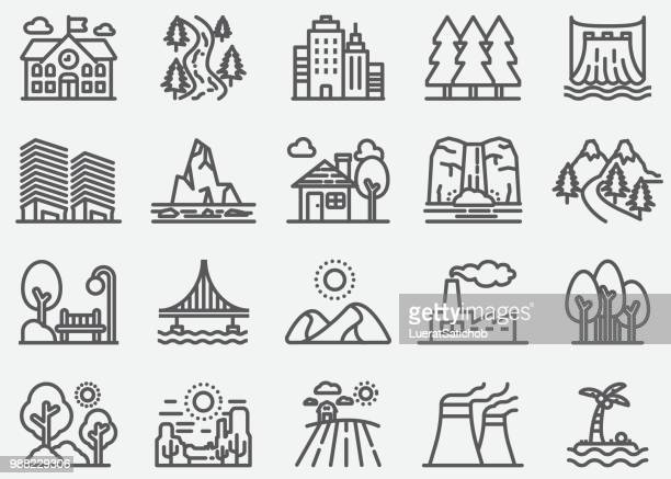 Building and Nature Landscape Line Icons