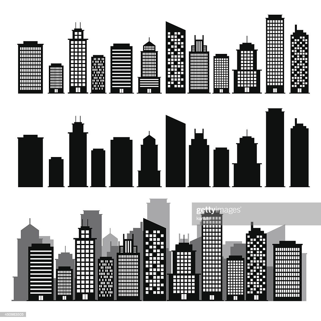 Building black and white icon set.