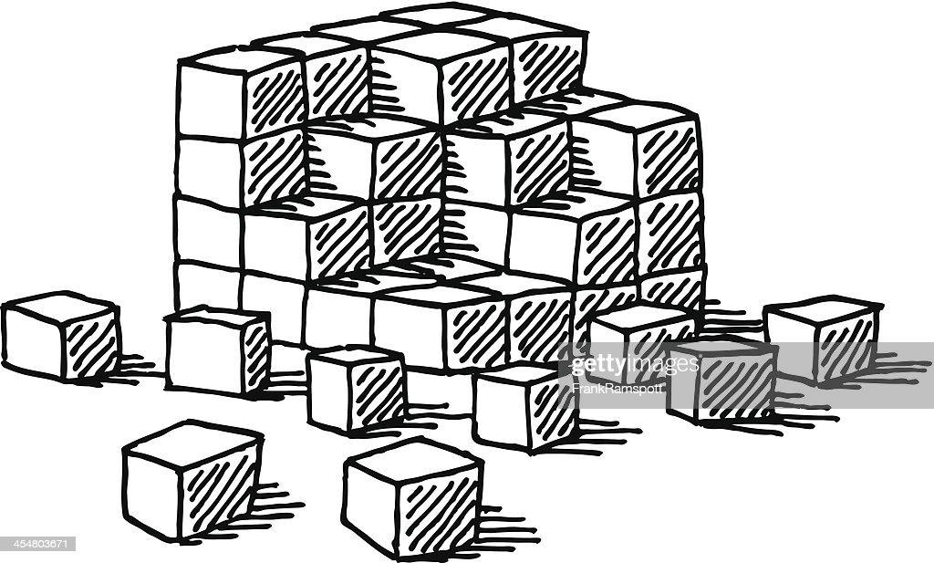 Building Blocks Cubes Drawing