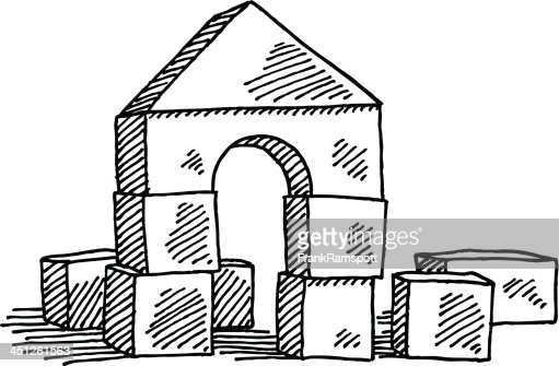 Line Art Cartoon Toys Vector : Building blocks toy drawing vector art getty images