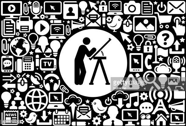 Building Blueprints  Icon Black and White Internet Technology Background