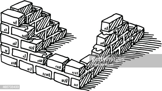 building brickwall construction drawing vector art getty images. Black Bedroom Furniture Sets. Home Design Ideas