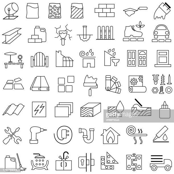 building, construction and renovation materials outline icons - paving stone stock illustrations