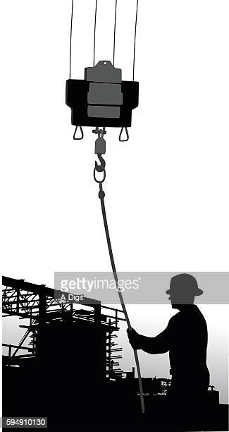building construction crane worker - steel cable stock illustrations, clip art, cartoons, & icons