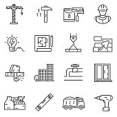 building construction icons set. Editable stroke