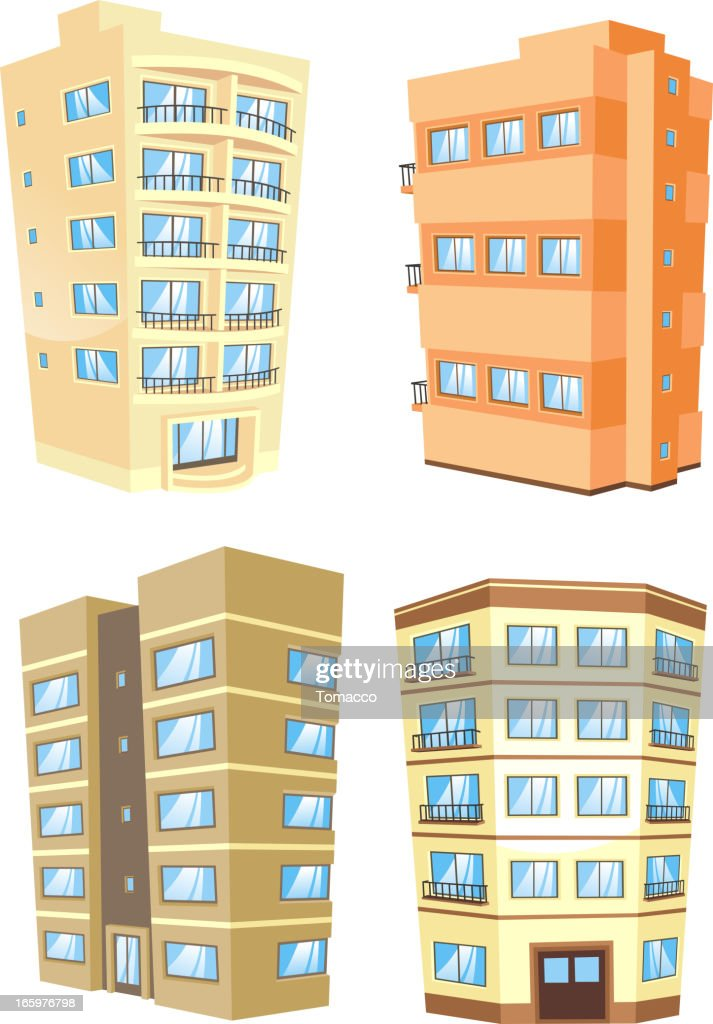 Building edifice tower apartment condo structure home house set 5
