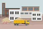 Building factory industry zone. Construction specialized transport