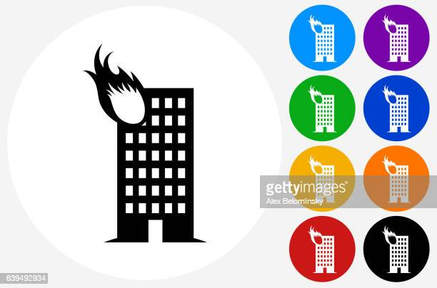 Building Fire Icon on Flat Color Circle Buttons