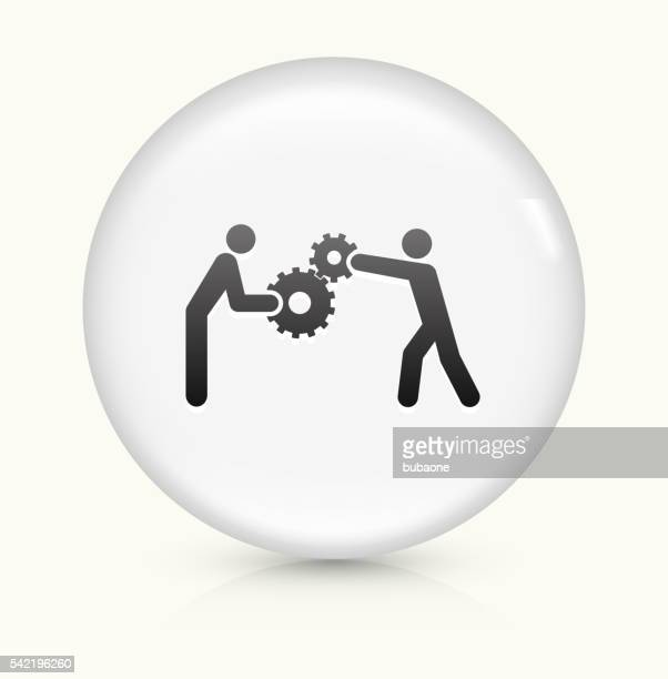 Building Gears icon on white round vector button