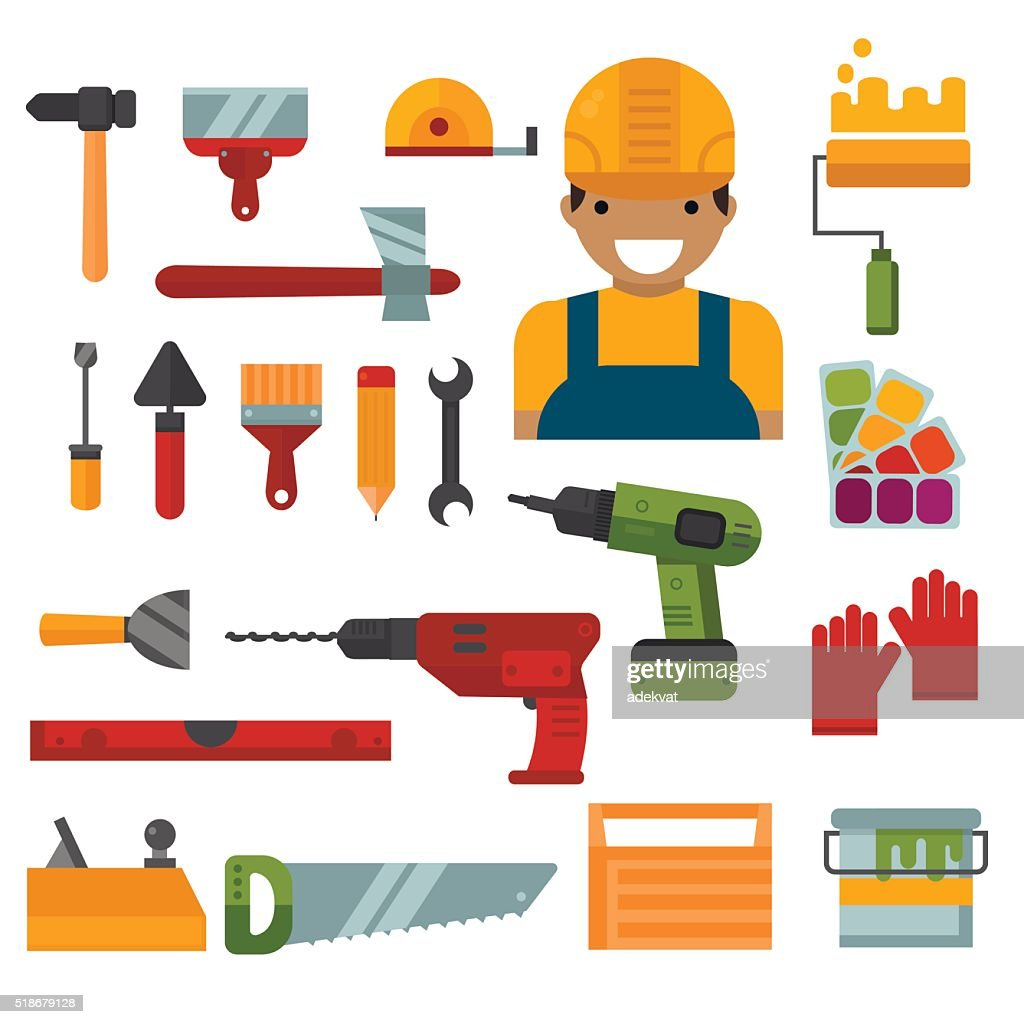 Building, home repair and decoration works tools vector