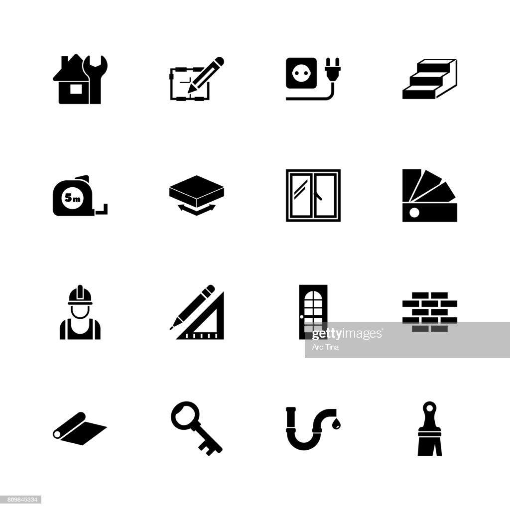 Building House - Flat Vector Icons