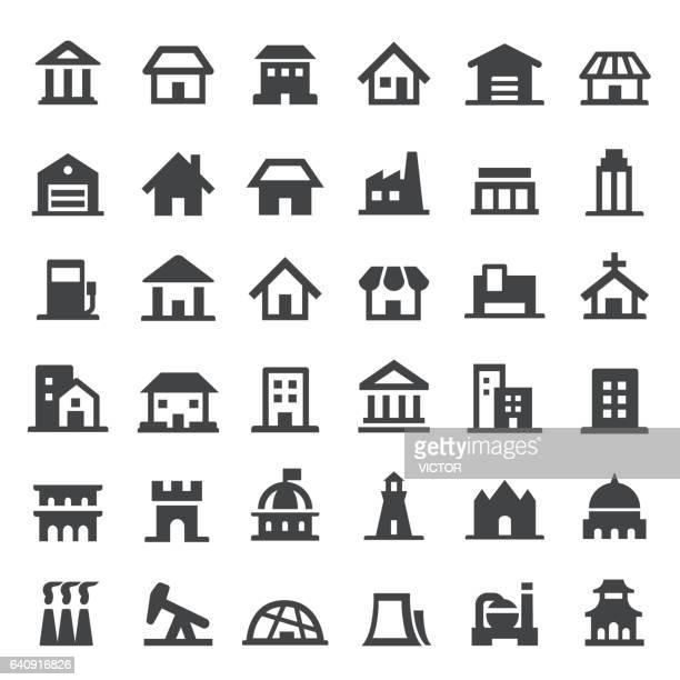 building icon - big series - house exterior stock illustrations, clip art, cartoons, & icons