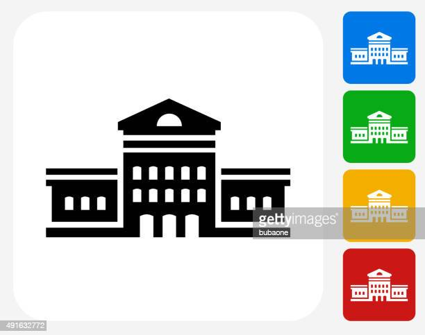building icon flat graphic design - town hall stock illustrations