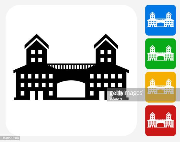 building icon flat graphic design - natural arch stock illustrations, clip art, cartoons, & icons