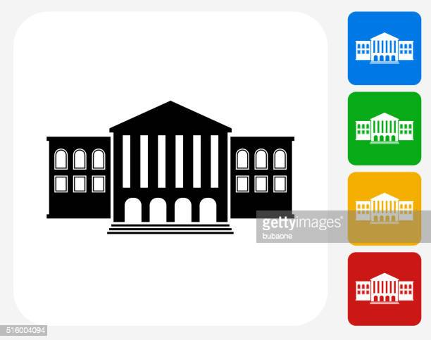 building icon flat graphic design - town hall government building stock illustrations