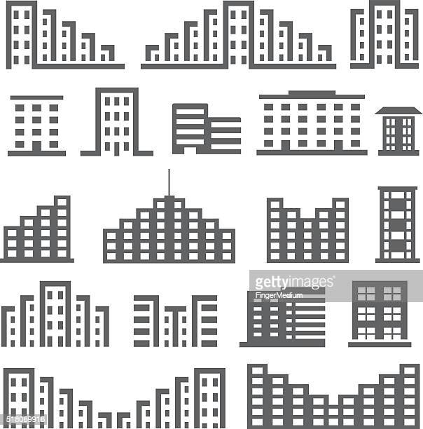 building icon set - downtown district stock illustrations