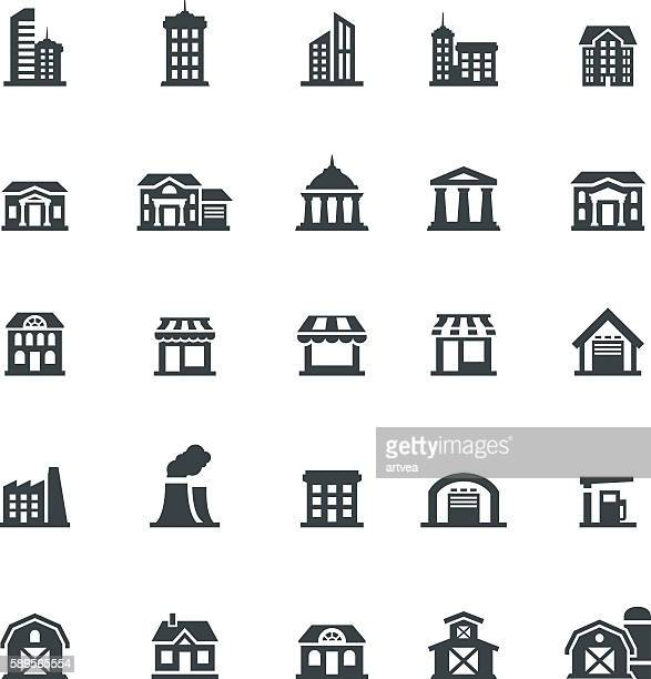 building icon set - house exterior stock illustrations, clip art, cartoons, & icons