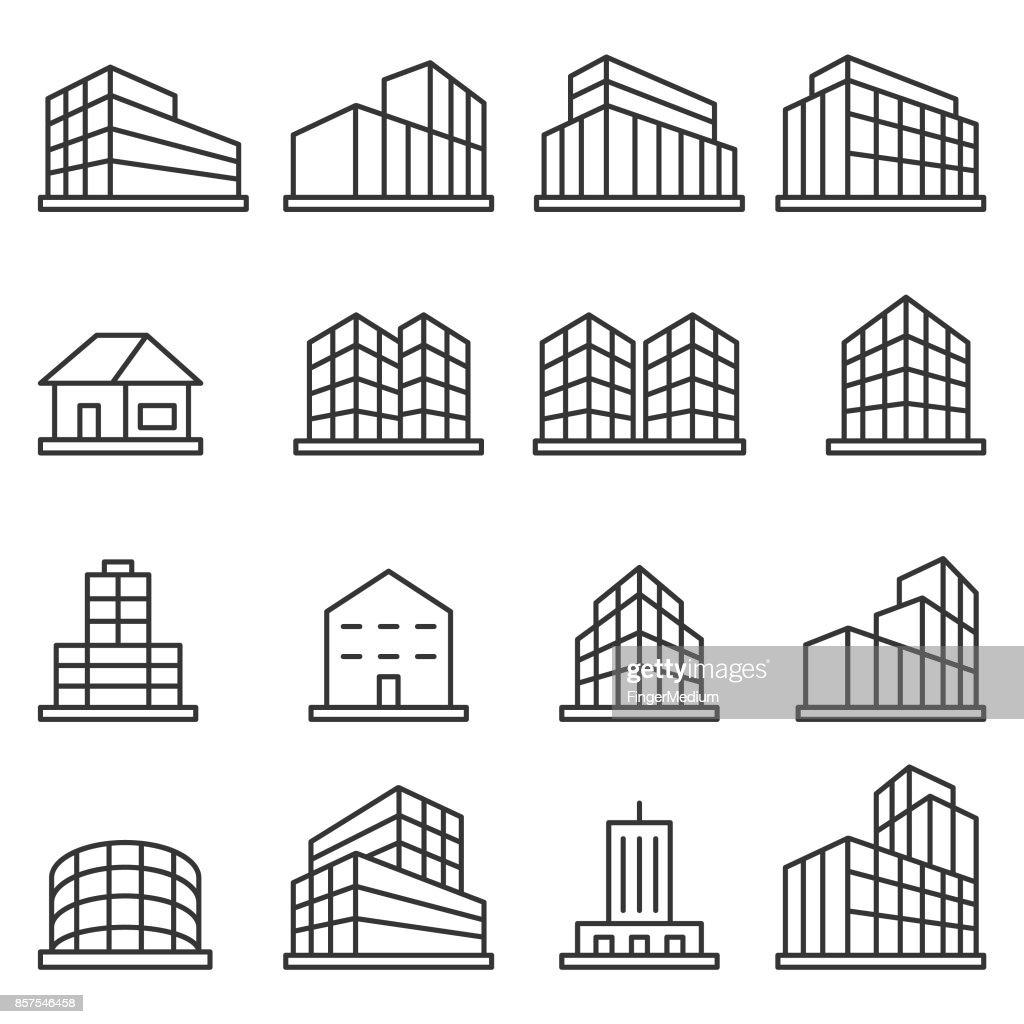 Byggnaden Ikonuppsättning : Illustrationer