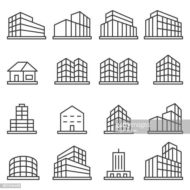 building icon set - skyscraper stock illustrations