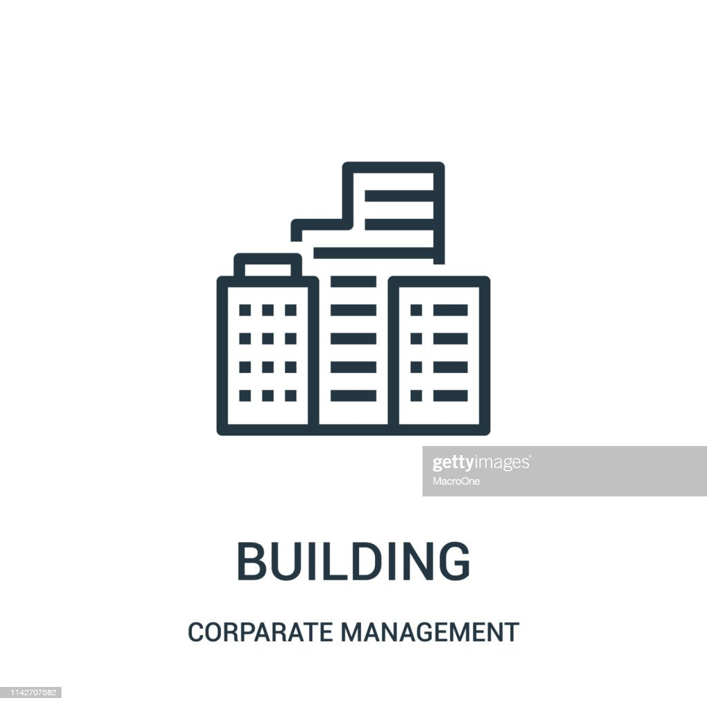 building icon vector from corparate management collection. Thin line building outline icon vector illustration. Linear symbol for use on web and mobile apps, logo, print media.