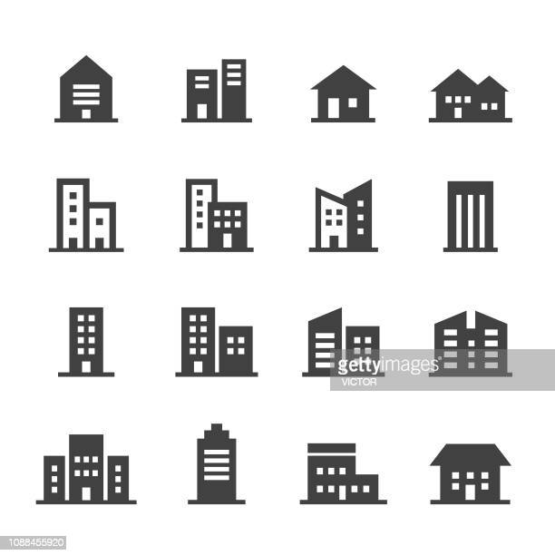 stockillustraties, clipart, cartoons en iconen met gebouw icons - acme serie - huis