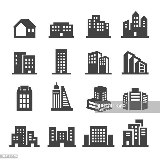 building icons - acme series - skyscraper stock illustrations