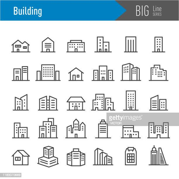 building icons - big line series - town stock illustrations