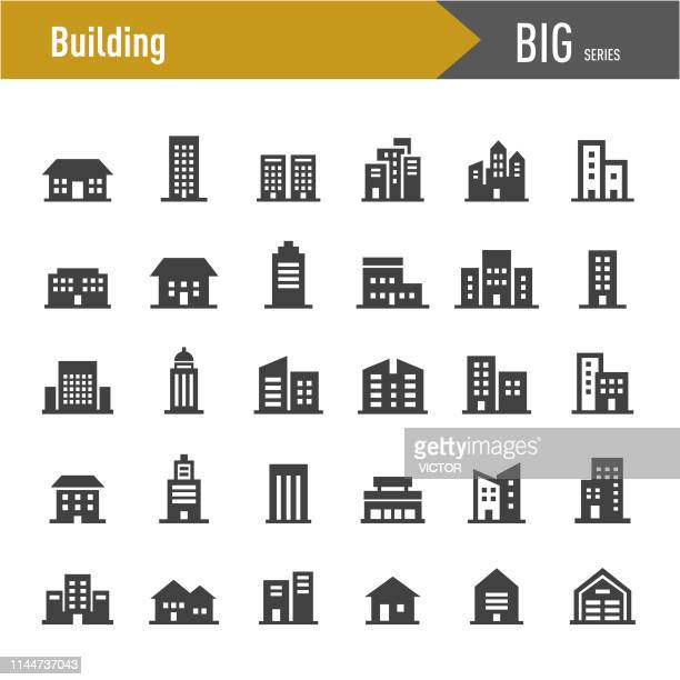 building icons - big series - human settlement stock illustrations