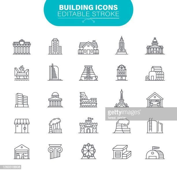 ilustraciones, imágenes clip art, dibujos animados e iconos de stock de construyendo iconos trazo editable - torre petrolera