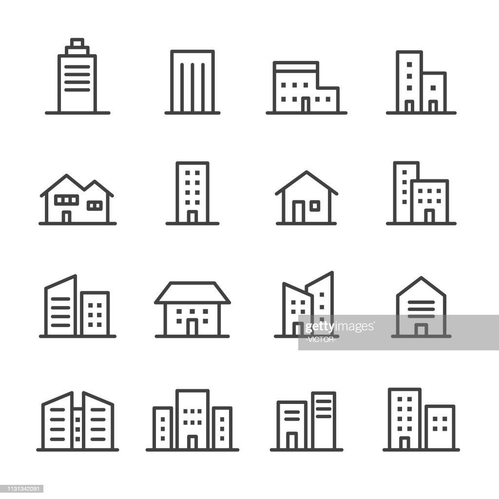 Iconos de construcción-serie de líneas : Ilustración de stock