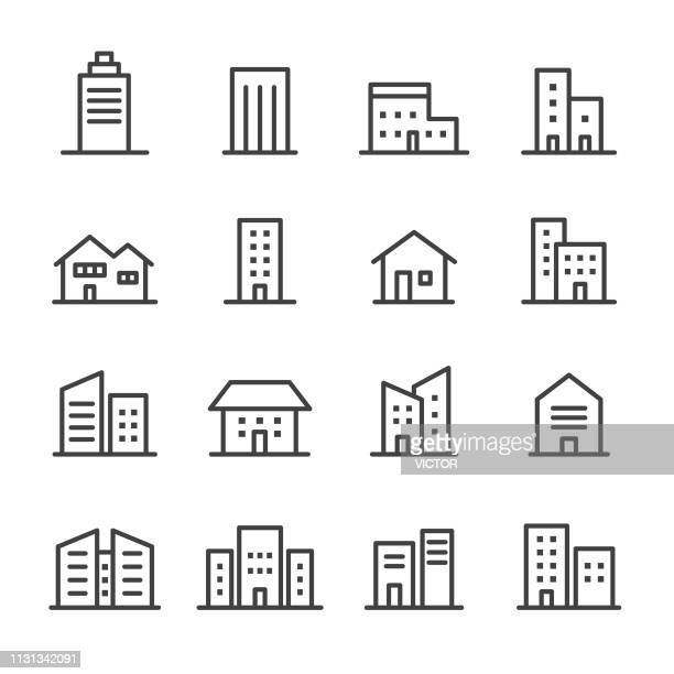 building icons - line series - human settlement stock illustrations