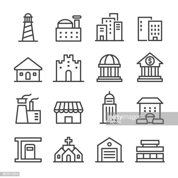 building icons - line series - house exterior stock illustrations, clip art, cartoons, & icons