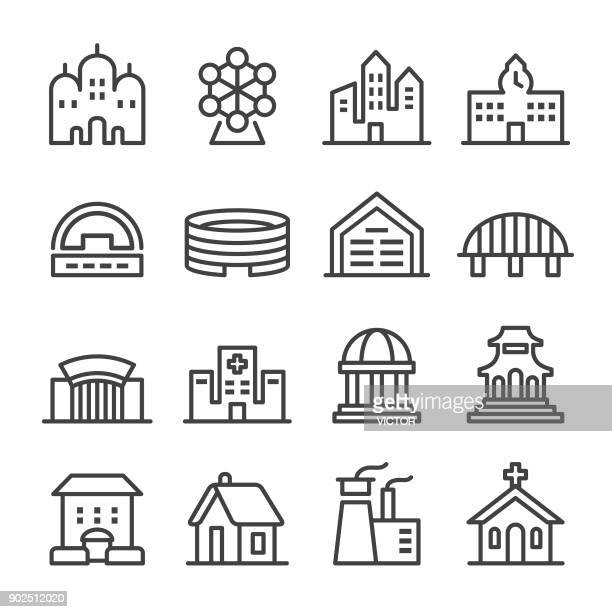 building icons set - line series - temple building stock illustrations, clip art, cartoons, & icons