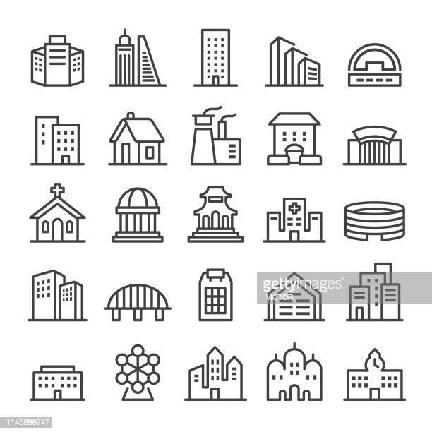 building icons set - smart line series - building exterior stock illustrations