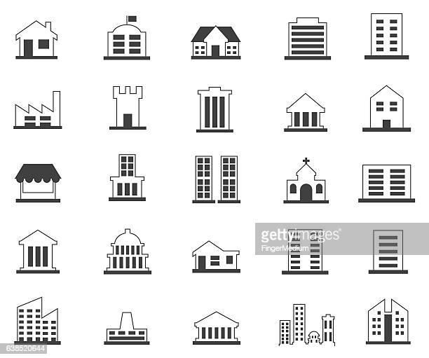building icons set - bungalow stock illustrations, clip art, cartoons, & icons