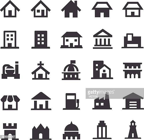 building icons - smart series - house exterior stock illustrations, clip art, cartoons, & icons