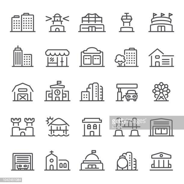 building icons - skyscraper stock illustrations