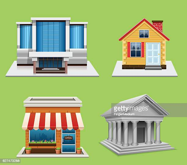 building icons - entrance hall stock illustrations, clip art, cartoons, & icons