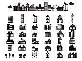 Building illustration silhouettes