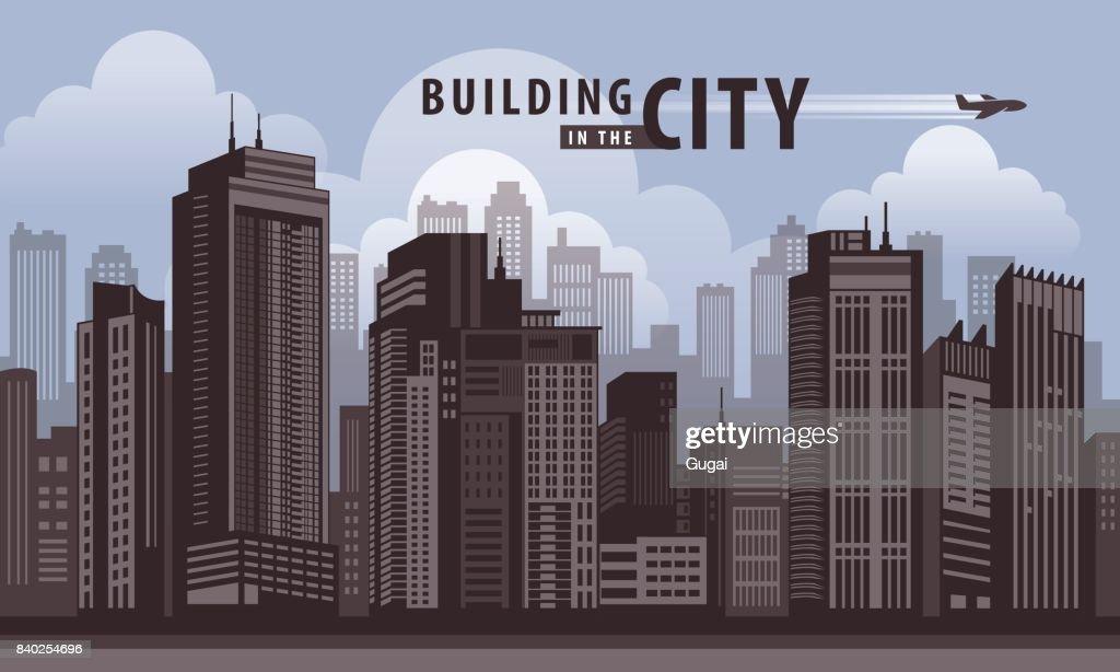 Building in the City, skyscraper Perspective. Architecture vector