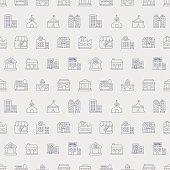 Building line icon pattern set