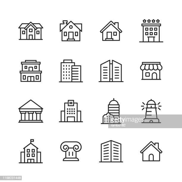 building line icons. editable stroke. pixel perfect. for mobile and web. contains such icons as building, architecture, construction, real estate, house, home, school, hotel. - hospital stock illustrations